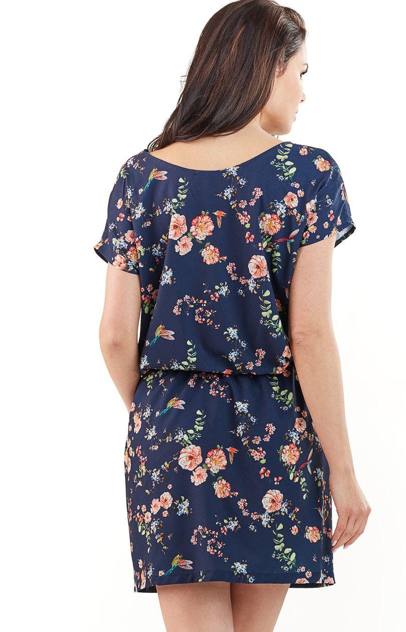 Sukienka L066 - granat-kwiaty - Sklep OHSO.pl™ xxFR0HRx