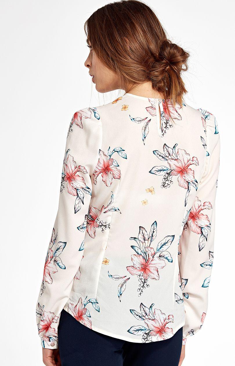 Bluzka z pionową falbanką b93 - ecru-kwiaty - Sklep OHSO.pl™ BsFZW0uy